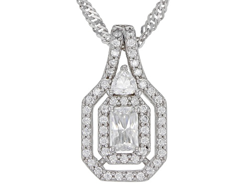 Photo of MOISSANITE FIRE(R) .94CTW DEW PLATINEVE(R) PENDANT AND SINGAPORE CHAIN
