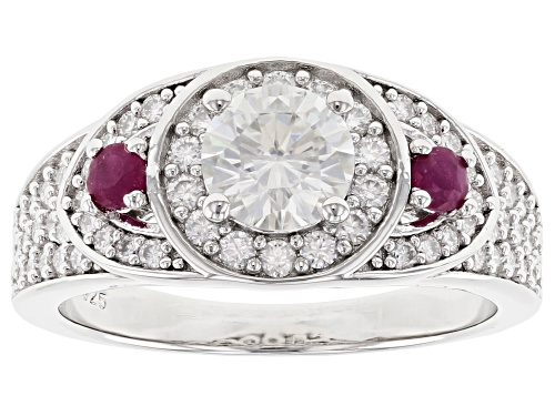 Photo of MOISSANITE FIRE(R) 1.62CTW DEW ROUND AND .18CTW ROUND MOZAMBIQUE RUBY PLATINEVE(R) RING - Size 8