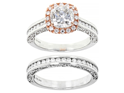 Photo of MOISSANITE FIRE(R) 2.74CTW DEW PLATINEVE(R)  AND 14K ROSE GOLD OVER PLATINEVE RING WITH BAND - Size 8