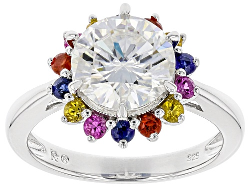 MOISSANITE FIRE(R) 2.70CT DEW AND .57CTW MULTI-COLOR SAPPHIRE PLATINEVE(R) RING - Size 8