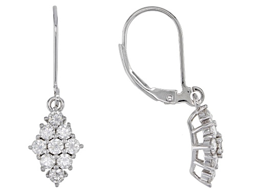 Photo of MOISSANITE FIRE(R) 1.08CTW DEW ROUND PLATINEVE(R) EARRINGS
