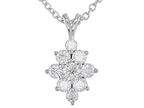 Photo of MOISSANITE FIRE(R) .88CTW DEW ROUND PLATINEVE(R) PENDANT WITH CABLE CHAIN