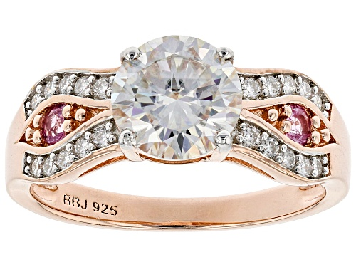 Photo of MOISSANITE FIRE(R) 1.70CTW DEW AND .15CTW PINK SAPPHIRE 14K ROSE GOLD OVER SILVER RING - Size 7