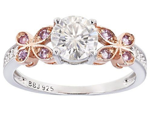 Photo of MOISSANITE FIRE(R) 1.08CTW DEW AND .17CTW PINK SAPPHIRE PLATINEVE(R) AND 14K ROSE GOLD ACCENT RING - Size 8