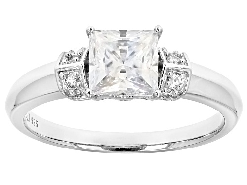 Photo of MOISSANITE FIRE(R) 1.28CTW DEW PRINCESS CUT AND ROUND PLATINEVE(R) RING - Size 9