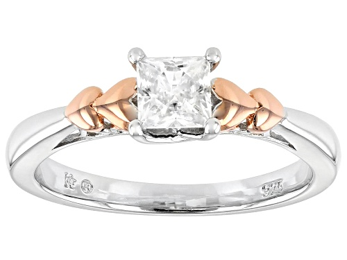 Photo of MOISSANITE FIRE(R) .60CT DEW SQUARE BRILLIANT PLATINEVE(R) AND 14K ROSE GOLD OVER PLATINEVE RING - Size 11