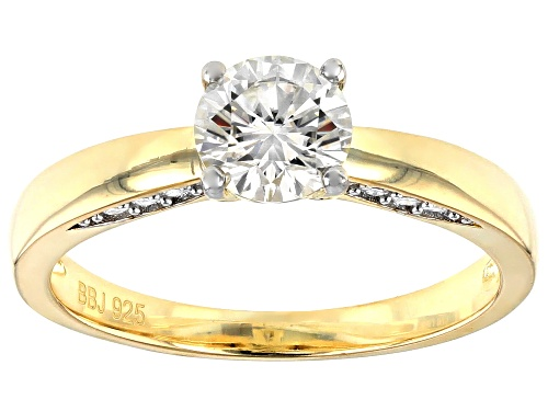 Photo of MOISSANITE FIRE(R) .96CTW DEW ROUND 14K YELLOW GOLD OVER SILVER RING - Size 10