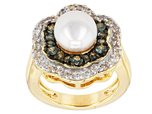 Photo of 8mm Cultured Freshwater Pearl & 0.41ctw Alexandrite & 0.6ctw Zircon 18k Yellow Gold Over Silver Ring - Size 12