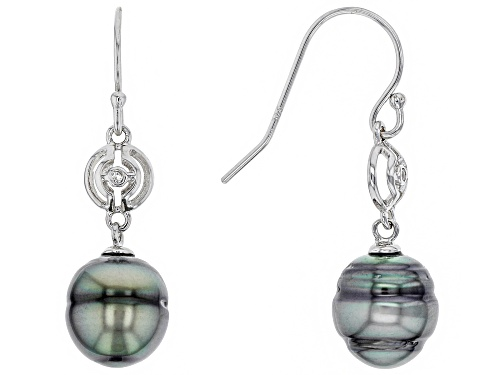 Photo of 9mm Cultured Tahitian Pearl With 0.0135ctw White Topaz Rhodium Over Silver Dangle Earring