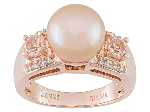Photo of Pink Cultured Freshwater Pearl & Cor-De-Rosa Morganite™ & Zircon 18k Rose Gold Over Silver Ring - Size 8