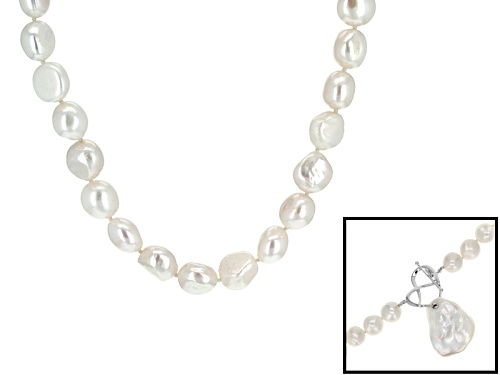 Photo of 10.5-11mm And 16-23mm White Cultured Freshwater Pearl Sterling Silver 20 Inch Strand Necklace - Size 20