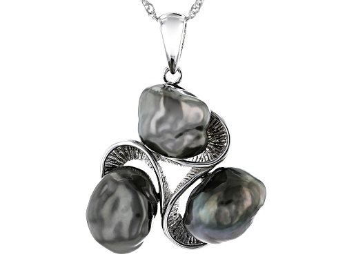 Photo of 8-9mm Cultured Keshi Tahitian Pearl Rhodium Over Sterling Silver Pendant With Chain
