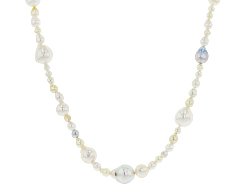 Photo of 3-8mm Multi-Color Cultured Akoya Pearl Rhodium Over Sterling Silver 22 Inch Necklace - Size 22