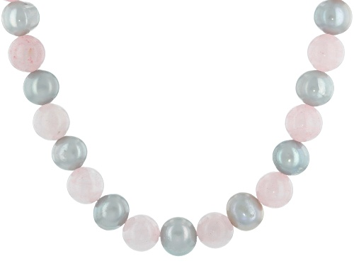 Photo of 7.5-8.5mm Silver Cultured Freshwater Pearl & Rose Quartz Rhodium Over Sterling Silver Necklace - Size 18