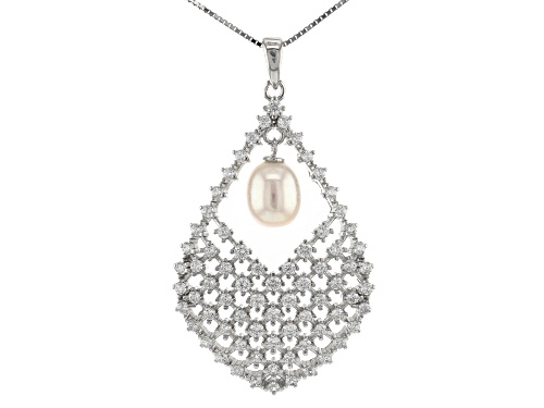 Photo of 7-8mm White Cultured Freshwater Pearl & Bella Luce® Rhodium Over Sterling Silver Pendant With Chain