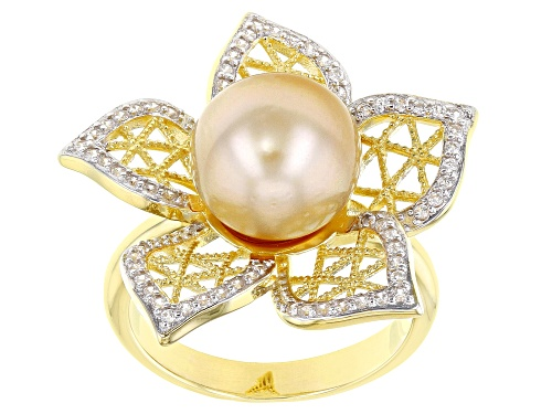 Photo of 10mm Golden Cultured South Sea Pearl Rhodium & 18k Yellow Gold Over Sterling Silver Ring - Size 8