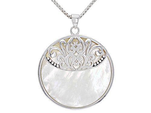 Photo of White Mother-of-Pearl Rhodium Over Sterling Silver Pendant With Chain
