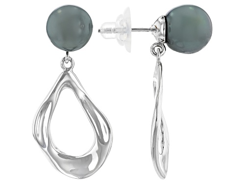 Photo of 10-11mm Cultured Tahitian Pearl Rhodium Over Sterling Silver Earrings