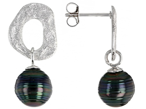 Photo of 9-10mm Cultured Tahitian Pearl Rhodium Over Sterling Silver Earrings