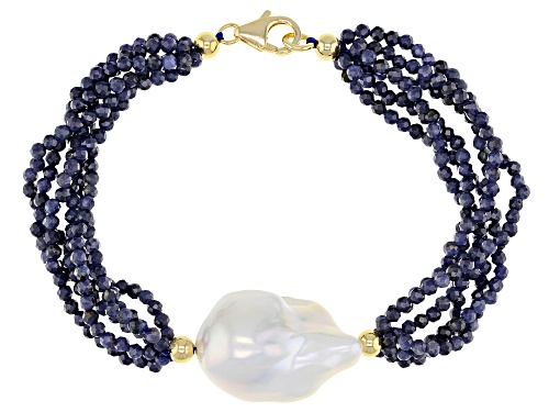 Photo of Genusis™ Cultured Freshwater Pearl & Sapphire 18k Yellow Gold Over Sterling Silver Bracelet - Size 7