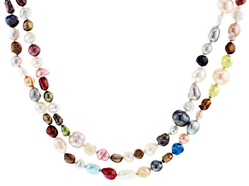 Photo of 4-10mm Multi-Color Cultured Freshwater Pearl 62 Inch Endless Strand Necklace - Size 62