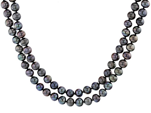 Photo of 7-8mm Black Cultured Freshwater Pearl 48 Inch Endless Strand Necklace - Size 48