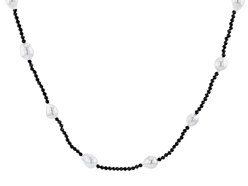 Photo of Genusis™ 7-8mm White Cultured Freshwater Pearl & Black Spinel 32 Inch Endless Necklace - Size 32