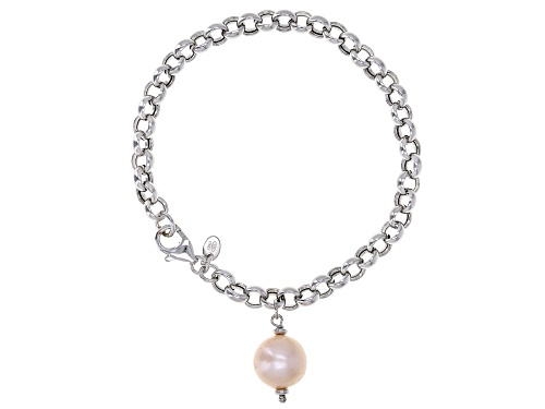Photo of Genusis™ 11-12mm Pink Cultured Freshwater Pearl Rhodium Over Sterling Silver Bracelet - Size 8