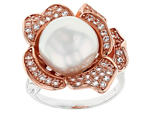Photo of 12mm White Cultured South Sea Pearl & Topaz 0.65ctw Rhodium & 18k Rose Gold Over Silver Ring - Size 12