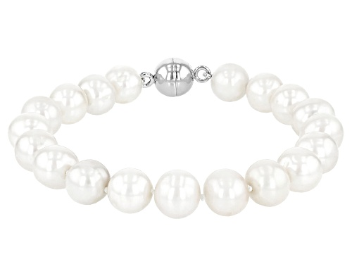 Photo of 10-11mm White Cultured Freshwater Pearl Rhodium Over Sterling Silver Bracelet With Magnetic Clasp - Size 8.5