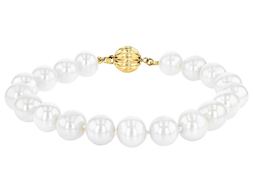 10-11mm White Cultured Freshwater Pearl 14k Yellow Gold Strand Bracelet - Size 8.5