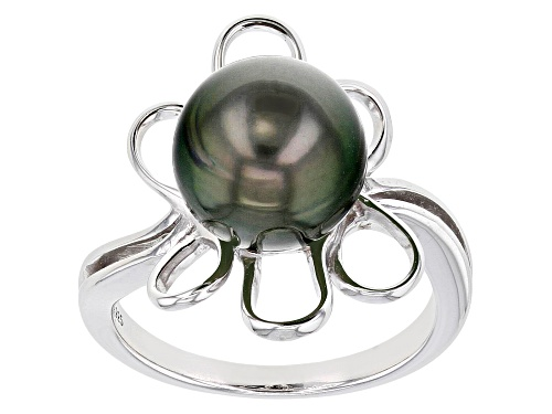 Photo of 10-11mm Cultured Tahitian Pearl Rhodium Over Sterling Silver Ring - Size 8