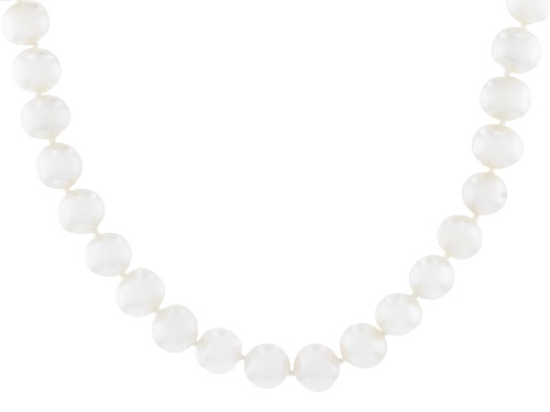 Photo of 7-8mm White Cultured Freshwater Pearl Rhodium Over Sterling Silver 18 Inch Strand Necklace - Size 18