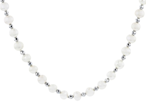 Photo of 6-6.5mm White Cultured Freshwater Pearl & Hematine Rhodium Over Sterling Silver 32 Inch Necklace - Size 32