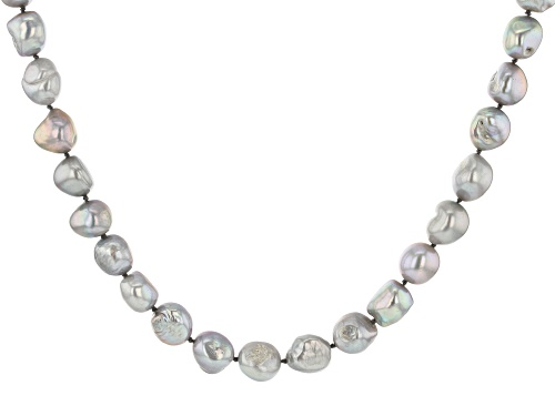 Photo of 10.5-11.5mm Silver Cultured Freshwater Pearl Rhodium Over Sterling Silver 18 Inch Strand Necklace - Size 18