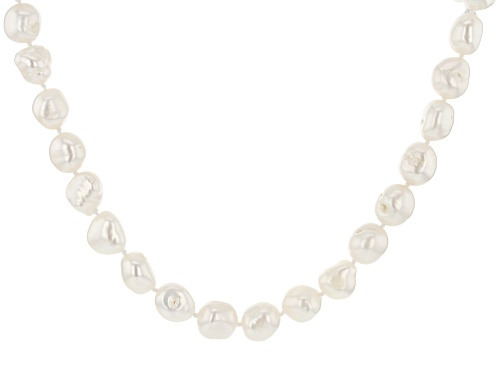 Photo of 10.5-11.5mm White Cultured Freshwater Pearl Rhodium Over Sterling Silver 24 Inch Strand Necklace - Size 24