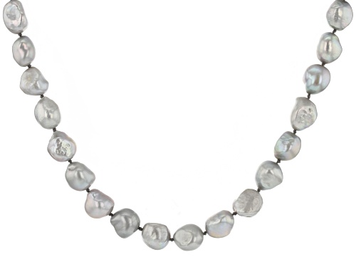 Photo of 10.5-11.5mm Silver Cultured Freshwater Pearl Rhodium Over Sterling Silver 24 Inch Strand Necklace - Size 24