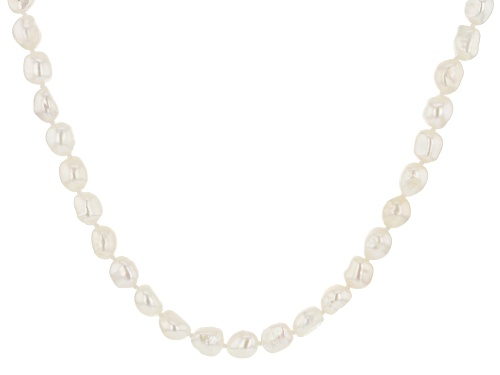 Photo of 8-9mm White Cultured Freshwater Pearl Rhodium Over Sterling Silver 24 Inch Strand Necklace - Size 24