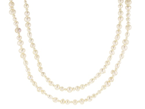 Photo of 3-10mm White Cultured Freshwater Pearl 36 Inch Endless Strand Necklace Set of 2 - Size 36