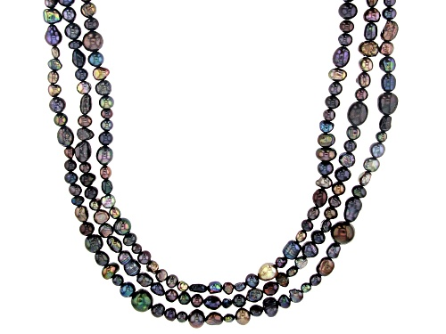 Photo of 4-10mm Black Cultured Freshwater Pearl 36 Inch Endless Strand Necklace Set of 3 - Size 36
