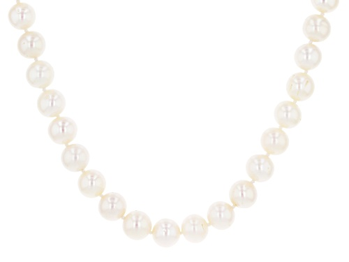 Photo of 8-9mm White Cultured Freshwater Pearl Rhodium Over Sterling Silver 18 Inch Strand Necklace - Size 18