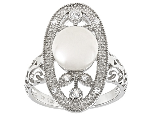 8-9mm White Cultured Freshwater Pearl & Bella Luce ® Rhodium Over Sterling Silver Ring - Size 11