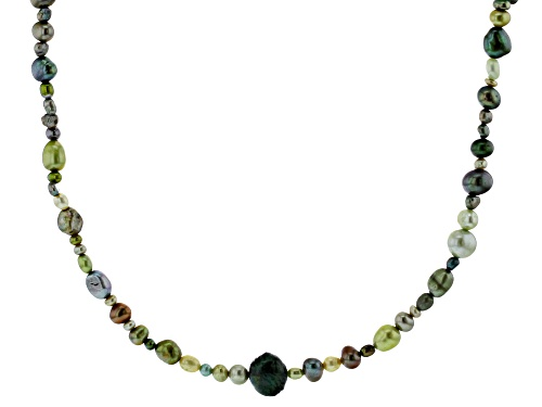 Photo of 2-10mm Green Cultured Freshwater Pearl 36 Inch Endless Strand Necklace - Size 36