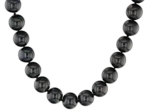 Photo of 8-10mm Black Cultured Freshwater Pearl Rhodium Over Sterling Silver 18 Inch Strand Necklace - Size 18