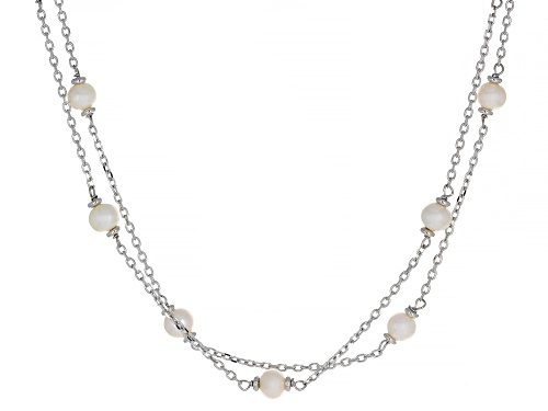 Photo of Genusis™ 12-13mm & 5-6mm White Cultured Freshwater Pearl Rhodium Over Sterling Silver Necklace - Size 18