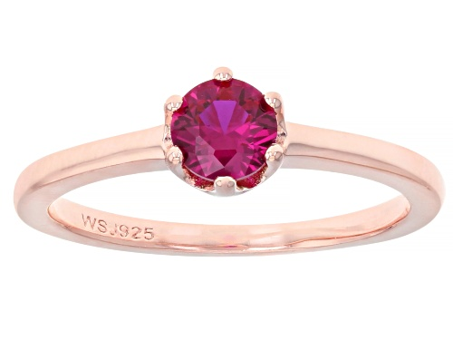 Round Lab Created Pink Sapphire 18k Rose Gold Over Silver Solitaire Ring - Size 7