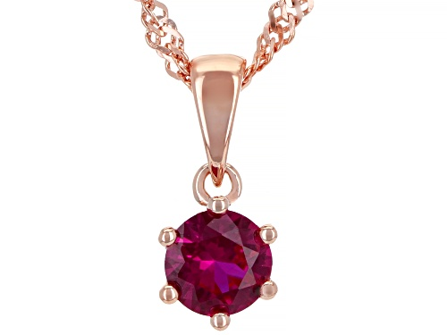 Photo of Lab Created Pink Sapphire 18k Rose Gold Over Silver Pendant with Chain