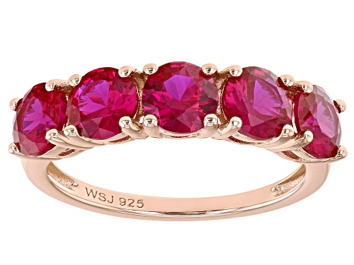 Photo of Round Lab Created Pink Sapphire 18k Rose Gold Over Silver Band Ring - Size 8