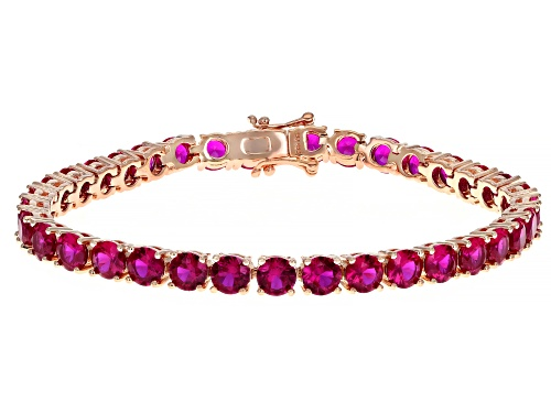 Photo of Round Lab Created Pink Sapphire 18k Rose Gold Over Silver Bracelet - Size 8