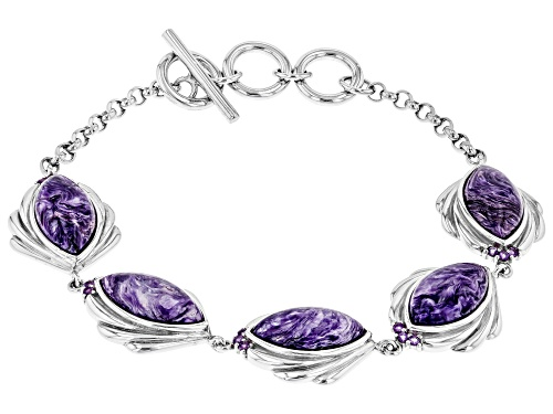 Photo of 16X8MM MARQUISE CHAROITE AND .25CTW AFRICAN AMETHYST RHODIUM OVER SILVER BRACELET - Size 7.25